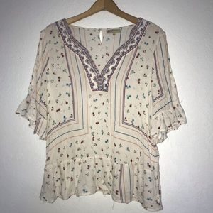 Democracy Crinkle Embroidered Peasant Top